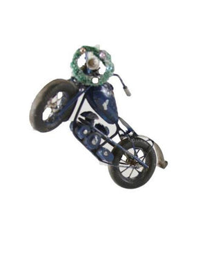 Cody Foster Holiday Retro Gray Motorcycle Christmas Village Ornament