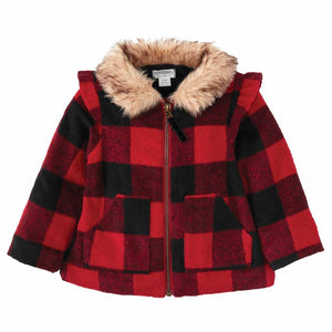 Mud Pie Kids Alpine Village Buffalo Check Coat with Faux Fur Trim
