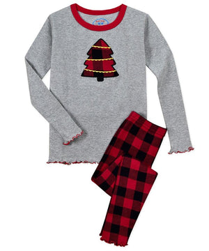 Sara's Prints Red Black Buffalo Check Girls Tree Christmas Winter Pajamas 2 Pc Set