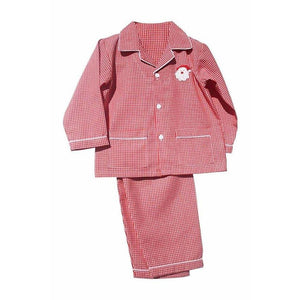 Santa Red Gingham Kids Christmas Pajamas LightweightRed/White