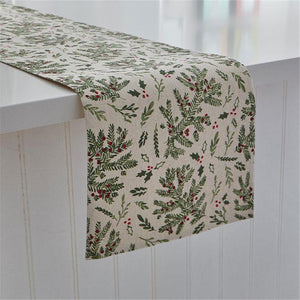 "Harman Ivory with Pine Bough and Holly Berries 72"" Christmas Table Runner"