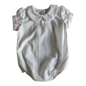 Sweet Dreams Girls Christening with Pink Cross Pleated Front Baby Bubble Set