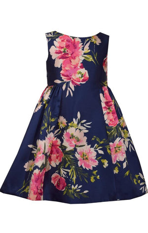 Bonnie Jean Navy Blue Mikado Sleeveless Dress with Pink Floral Print