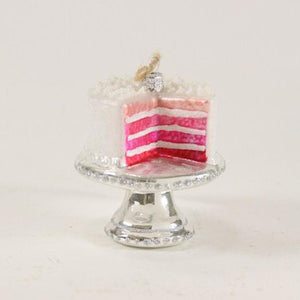 "Cody Foster Christmas Ornament Figure Cake Stand with Cake Pink Rainbow 3""H"