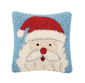 "Santa Face on Blue Background 8"" Sq Christmas Accent Pillow"