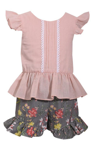 Bonnie Jean Pink Top with Flutter Sleeve and Floral Printed Shorts Set