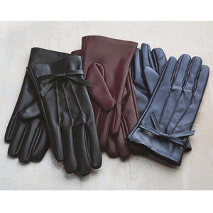 Mud Pie Womens Faux Leather Womens Driving Gloves with Bow Accent