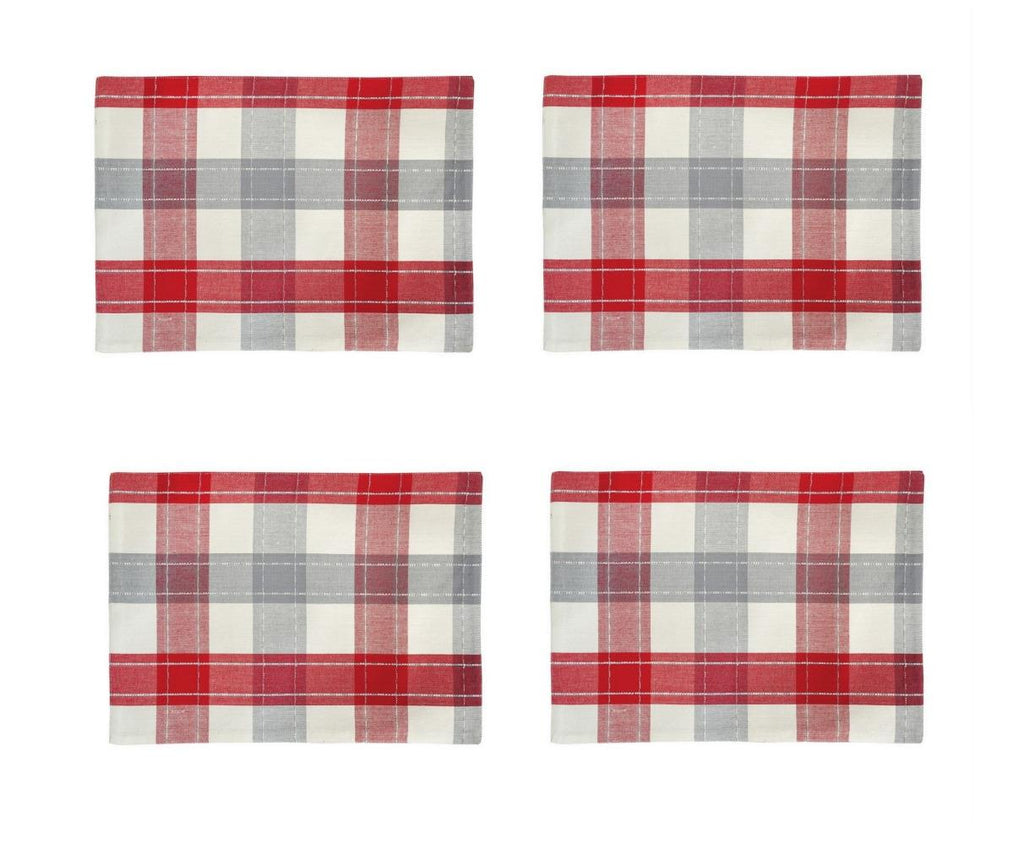 C & F Quilted Products Christmas Nordic Red Gray Plaid Rectangle Placemat-Set of 4