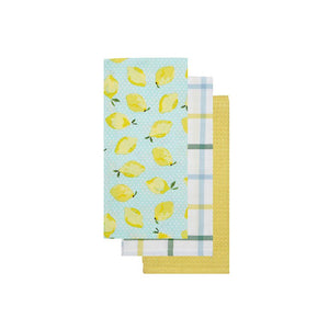Summer Lemon Print Yellow Blue Kitchen Towel Set of 3 Styles