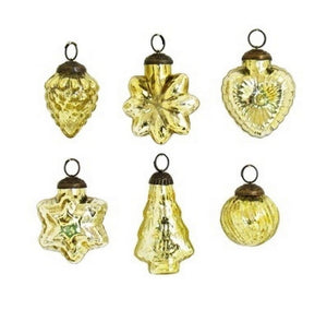 "2"" Gold Mercury Glass Christmas Ornaments Set of 6 Asst Shapes"