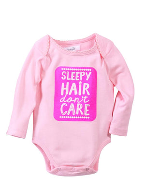 "Mud Pie Kids Baby Girls Sentiment Pink Bodysuit Crawlers-""Sleepy Hair Don't Care"""