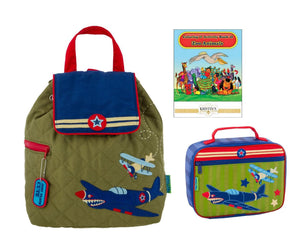 Stephen Joseph Quilted Backpack, Lunch Box, and Coloring Book Set