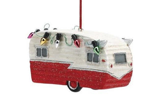 Big Sky Carvers Retro Vehicle Village Car Ornament, Travel Trailer