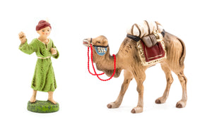 "Marolin Tan Camel with Luggage 4"" and Green Red Camel Driver 3.5"" Nativity Figure Set"