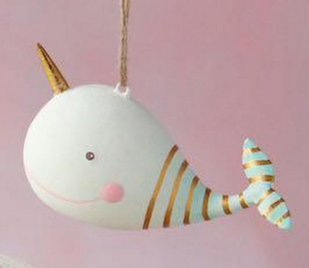 Glitterville Pinky the Whale Sea Critters Nautical Tree Ornament