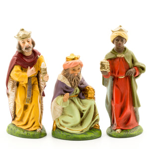 "Marolin Paper Mache 3 Wise Men Magi 3-3.8"" Christmas Figure Mini Nativity Set"