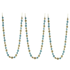 "Regency 48"" Blue and Gold Glitter Round Bead Christmas Tree Garland Set of 3 Blue"
