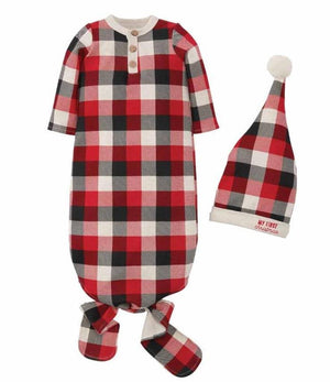 Mud Pie Kids Tri-Color Buffalo Check 1st Christmas Sleep Boys Gown Hat Set