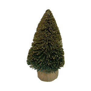 "Cody Foster 5.5"" Dark Green Ombre Buri Bottle Brush Tree Snowy Accent Christmas Village"