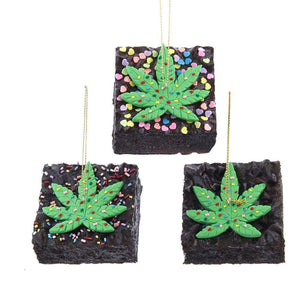 "2.75"" Sq Foam Cannabis Brownie with Sprinkles Ornaments 3 Asst Styles"