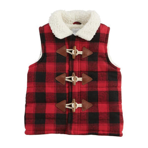 Mud Pie Kids Boys Buffalo Chest Vest with Sherpa Fleece Lining Toggle Buttons