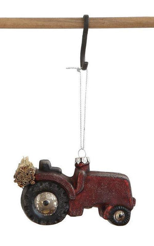 "2.75"" Glass Red Tractor Christmas Village Farm Ornament"