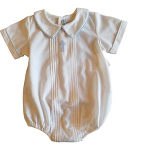 Boys Christening with Blue Trim and Cross Pleated Front Baby Bubble Set