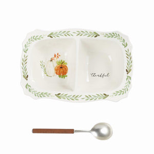 "Mud Pie Home Autumn Pumpkin and Vine Mottled Ceramic Divided Serving Dish Spoon Set- 10"" x 15"""