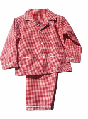 Red and White Gingham Kids Christmas Pajamas Lightweight Fabric