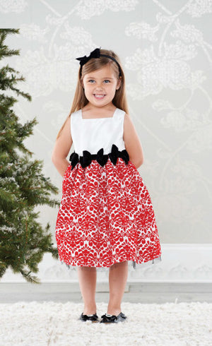 Mud Pie Diva Christmas Damask Dress