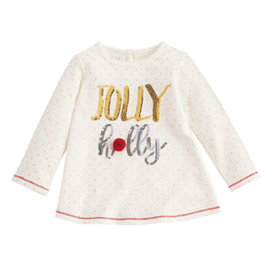 Mud Pie Kids Girls Sequin Jolly Holly Christmas Tunic Top White