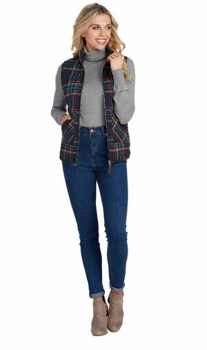 Mud Pie Womens Brodie Womens Outerwear Vest Navy Royal Stewart Tartan Plaid