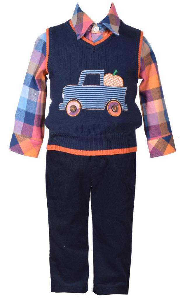 3 Piece Sweater Vest with Truck Applique Shirt and Pants Set