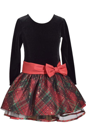 Bonnie Jean Long Sleeve Christmas Dress Black Velvet and Red Tartan Plaid Skirt