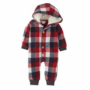 Mud Pie Kids Alpine Village Tri-Color Buffalo Check Hooded 1 Pc Outfit