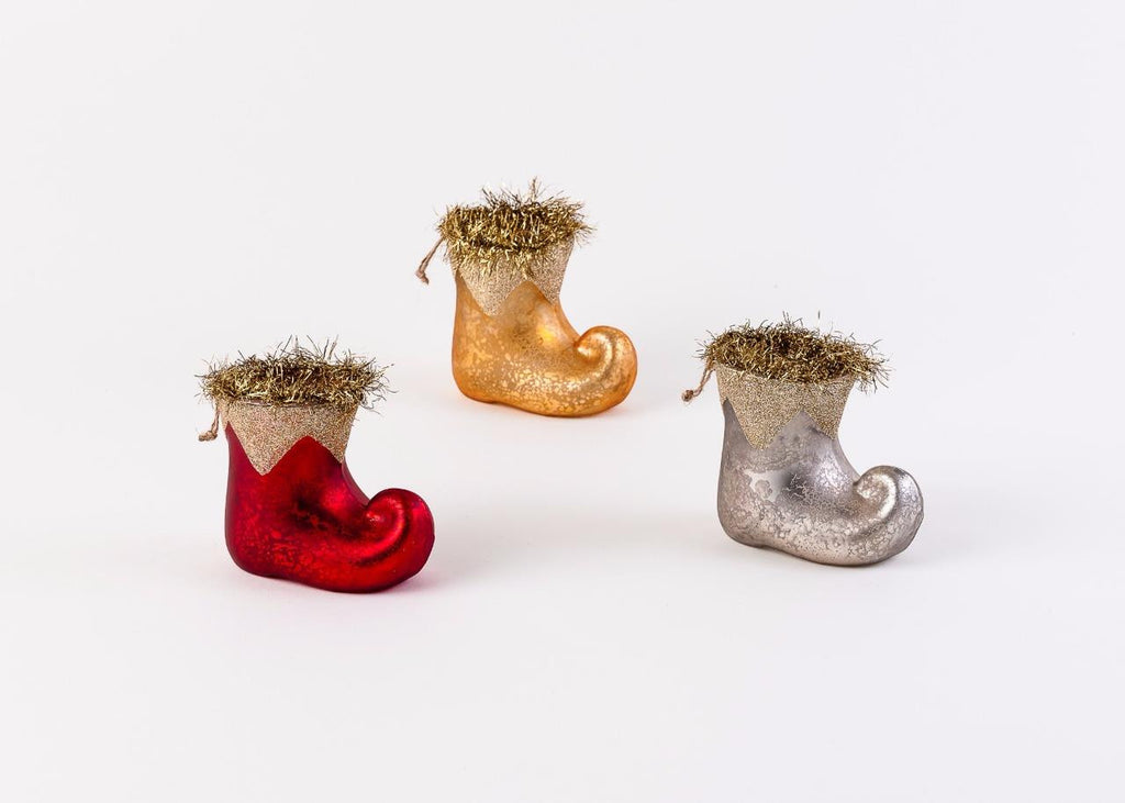180 Degrees Glass Elf Boot Christmas Tree Ornaments with Tinsel, Set of 3