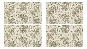 Harman Ivory with Pine Bough and Holly Berries Christmas Placemat Set of 4