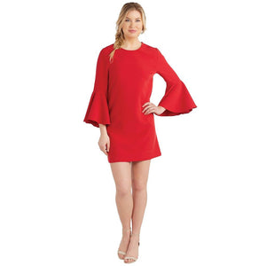 Mud Pie Womens Brooks Bell Sleeve Dress-Red Poinsettia
