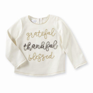 Mud Pie Kids Girls Thanksgiving Tee-Grateful Blessed Word Sentiment