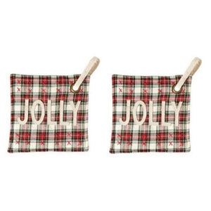 Mud Pie Christmas Royal Stewart White Tartan Plaid Hot Mitt Pot Holder Set of 2