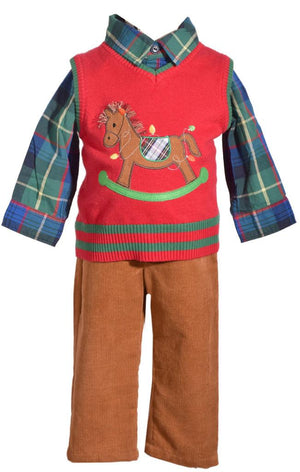 Bonnie Jean 3 Piece Christmas Sweater Vest Pants Set with Rocking Horse