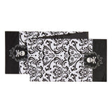 "C & F Black White Damask Halloween Skull Embroidered Table Runner 13"" x 72"""