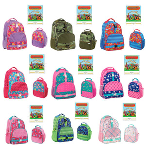 Stephen Joseph All Over Print Boys Kids School Backpack and Lunch Bag Book Set