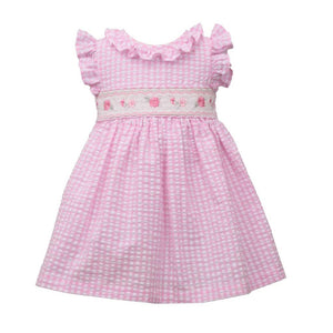 Bonnie Jean Pink Seersucker Gingham Spring Dress with Flower Smocking
