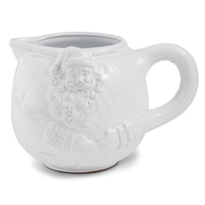 Mud Pie Yuletide Collection Milk Glazed Terra Cotta Santa Pitcher, 72 oz