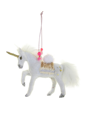 "Cody Foster Prancing White Faux Fur Adorned Unicorn 6"" W Christmas Ornament"