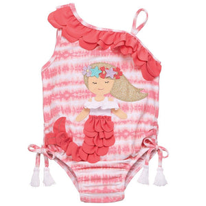 Mud Pie Kids Tie Dye Mermaid Applque Girls 1 Piece Bathing Suit
