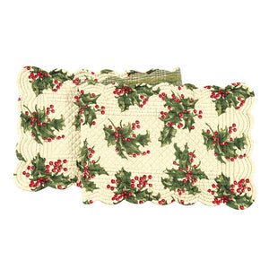 "April Cornell Christmas Holiday Quilted 70"" Table Runner Holly Cream Plaid"