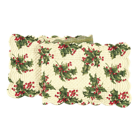 "April Cornell Christmas Holiday Quilted 70"" Table Runner Holly Red Plaid"