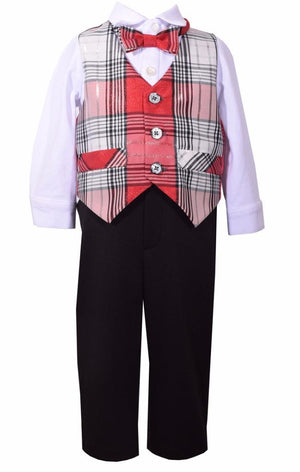 Bonnie Jean 4 Pc Christmas Red Plaid Vest Shirt Bow Tie Pants Boys Set